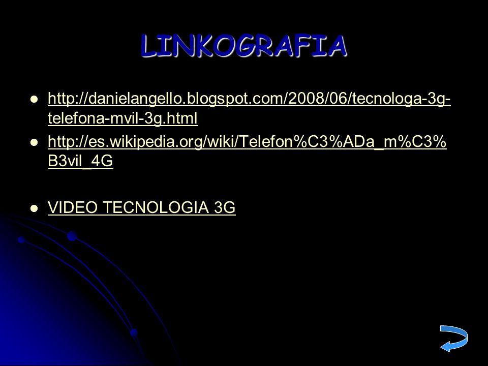 LINKOGRAFIAhttp://danielangello.blogspot.com/2008/06/tecnologa-3g-telefona-mvil-3g.html. http://es.wikipedia.org/wiki/Telefon%C3%ADa_m%C3%B3vil_4G.