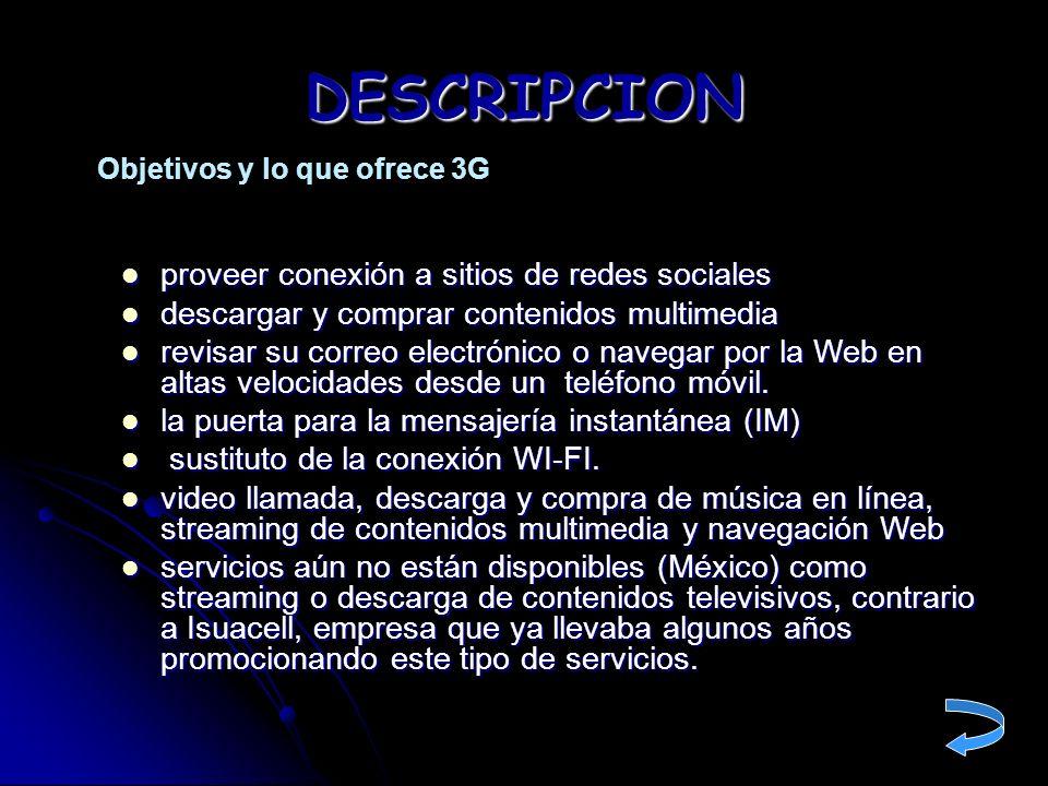 DESCRIPCION proveer conexión a sitios de redes sociales
