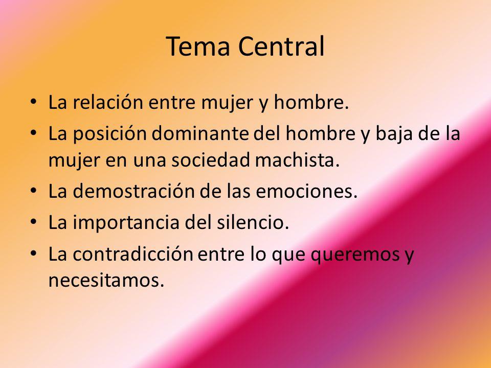 Tema Central La relación entre mujer y hombre.