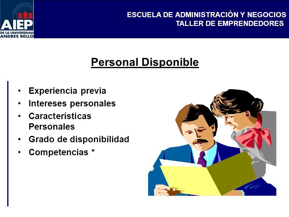 Personal Disponible Experiencia previa Intereses personales