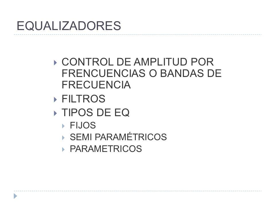 EQUALIZADORES CONTROL DE AMPLITUD POR FRENCUENCIAS O BANDAS DE FRECUENCIA. FILTROS. TIPOS DE EQ.