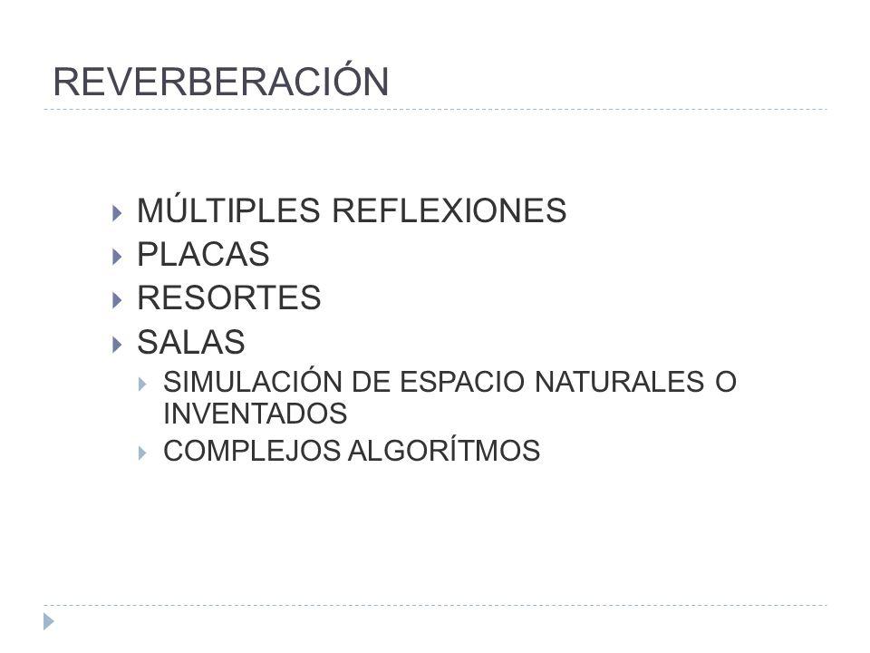 REVERBERACIÓN MÚLTIPLES REFLEXIONES PLACAS RESORTES SALAS