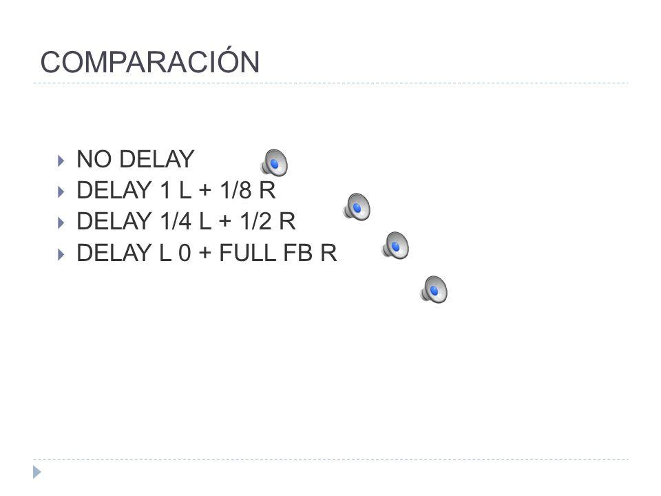 COMPARACIÓN NO DELAY DELAY 1 L + 1/8 R DELAY 1/4 L + 1/2 R