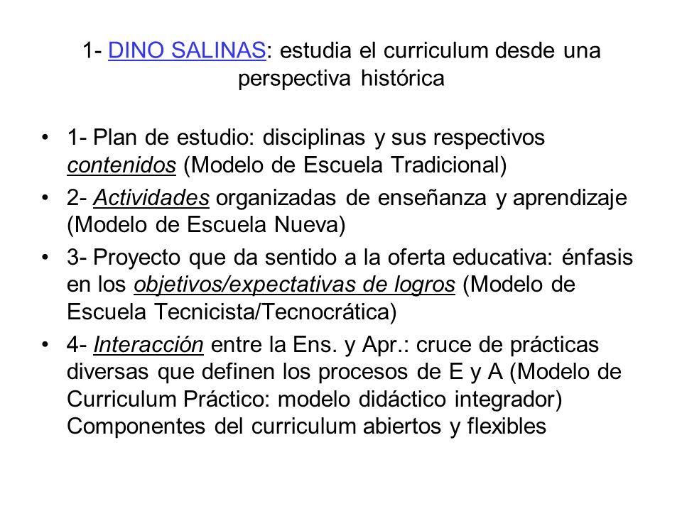 1- DINO SALINAS: estudia el curriculum desde una perspectiva histórica