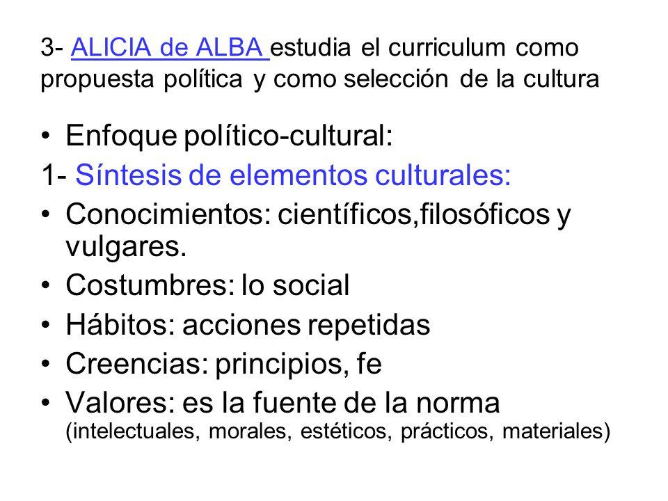 Enfoque político-cultural: 1- Síntesis de elementos culturales: