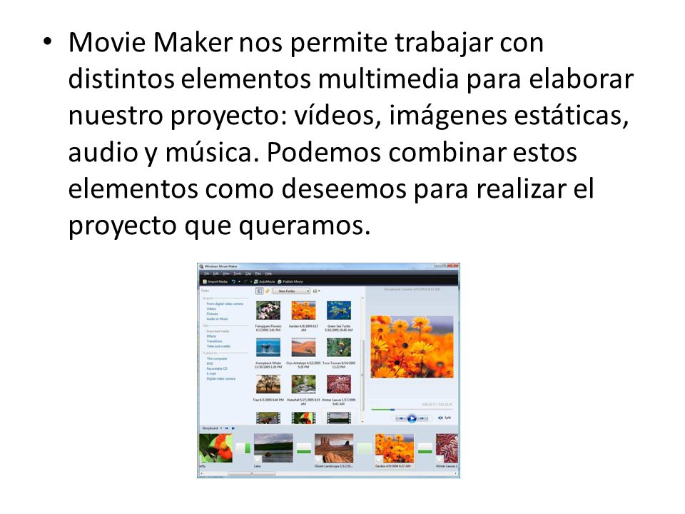 Movie Maker nos permite trabajar con distintos elementos multimedia para elaborar nuestro proyecto: vídeos, imágenes estáticas, audio y música.