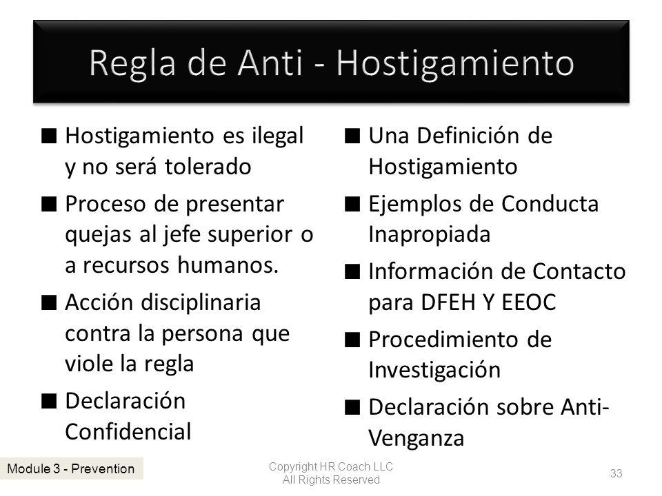 Regla de Anti - Hostigamiento