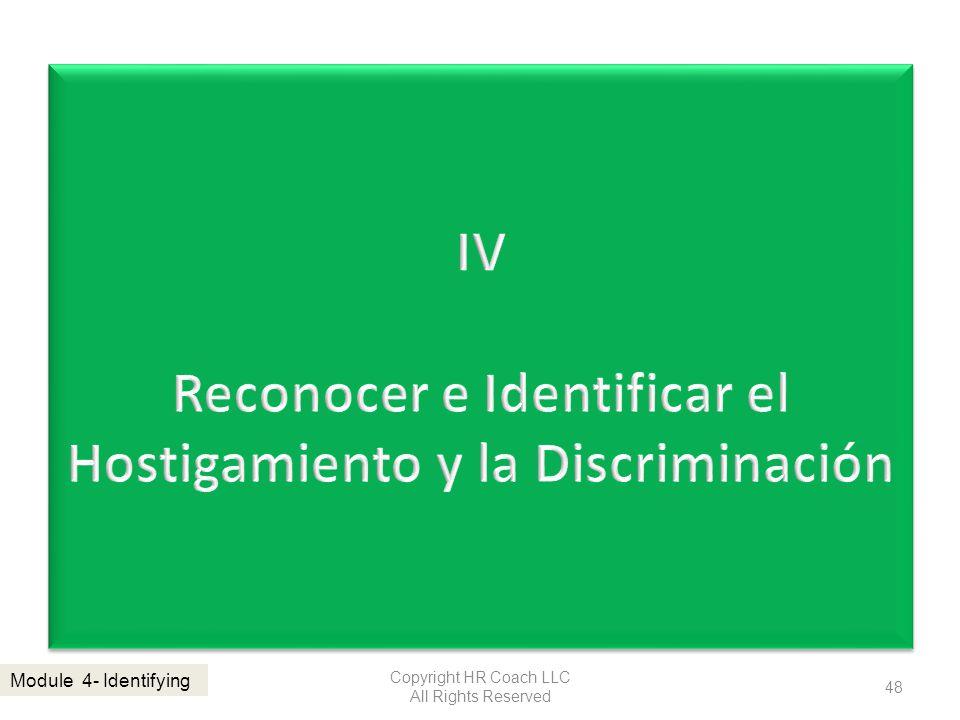 IV Reconocer e Identificar el Hostigamiento y la Discriminación