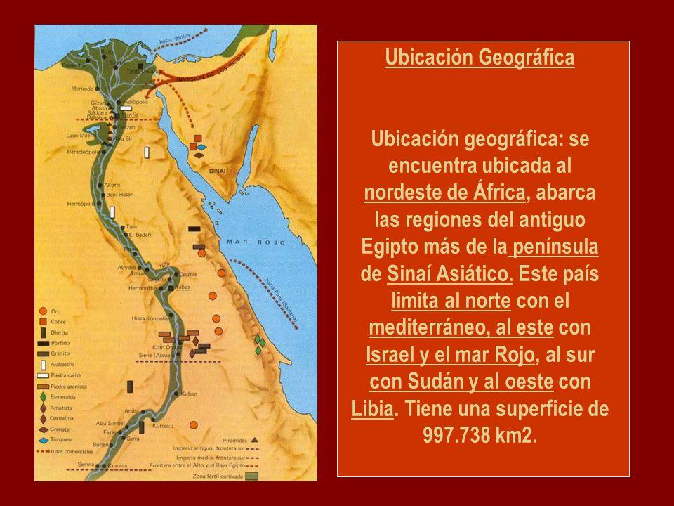 Ubicación Geográfica Ubicación geográfica: se encuentra ubicada al nordeste de África, abarca las regiones del antiguo Egipto más de la península de Sinaí Asiático.