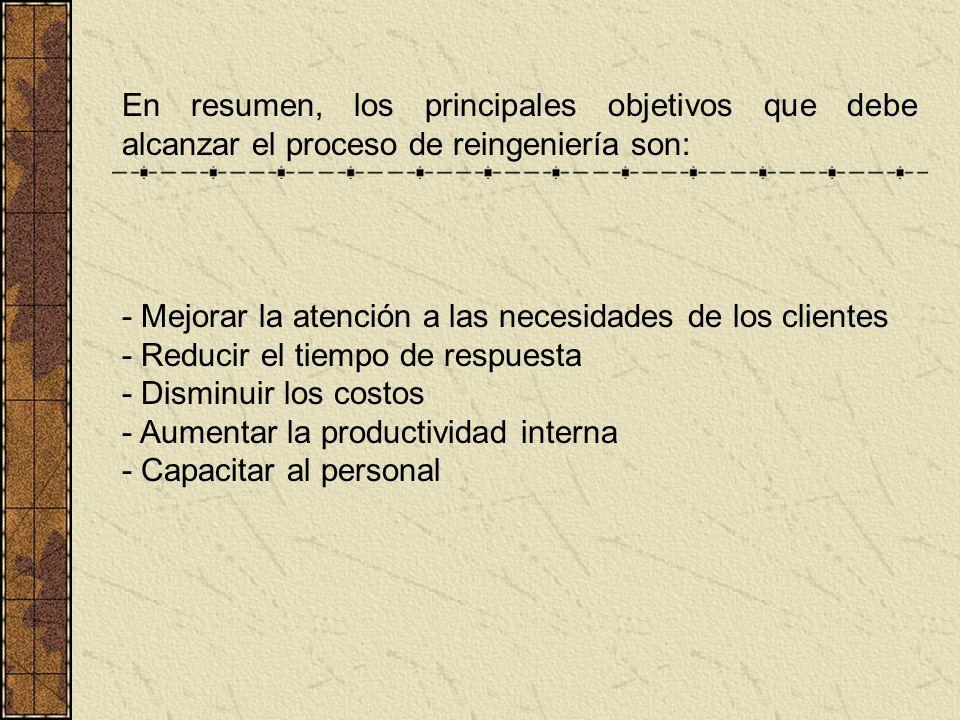 En resumen, los principales objetivos que debe alcanzar el proceso de reingeniería son: