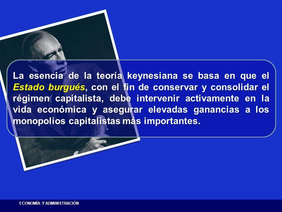 La esencia de la teoría keynesiana se basa en que el Estado burgués, con el fin de conservar y consolidar el régimen capitalista, debe intervenir activamente en la vida económica y asegurar elevadas ganancias a los monopolios capitalistas más importantes.