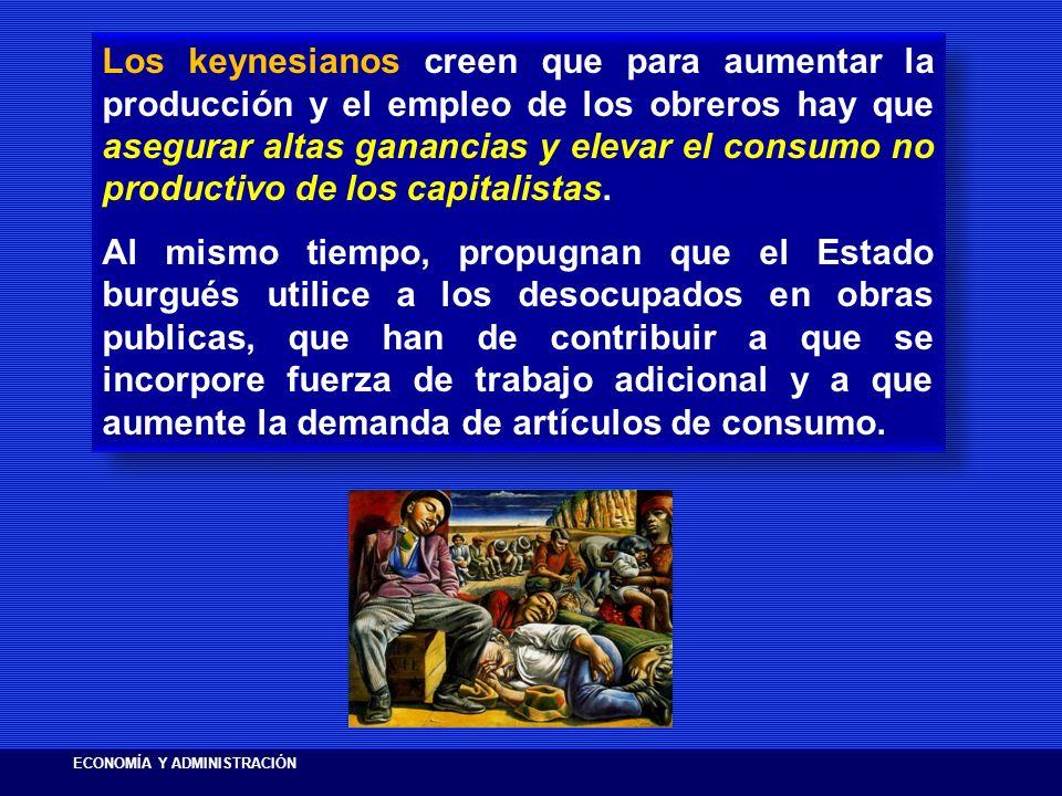 Los keynesianos creen que para aumentar la producción y el empleo de los obreros hay que asegurar altas ganancias y elevar el consumo no productivo de los capitalistas.