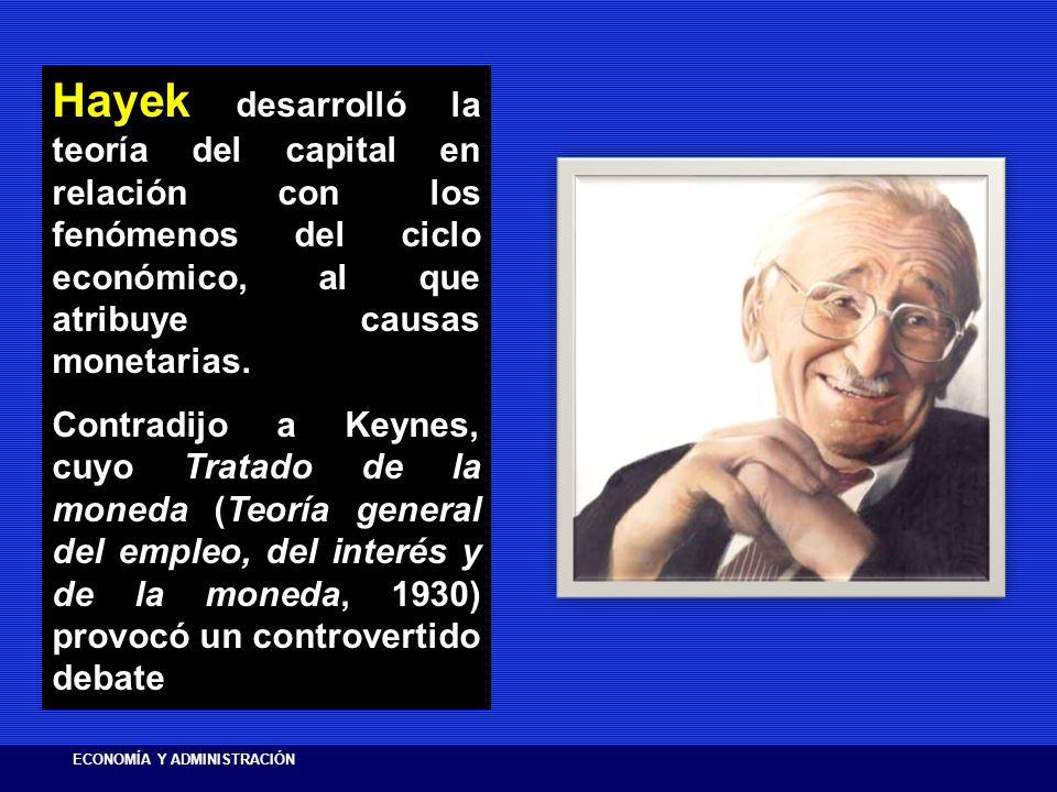 Hayek desarrolló la teoría del capital en relación con los fenómenos del ciclo económico, al que atribuye causas monetarias.