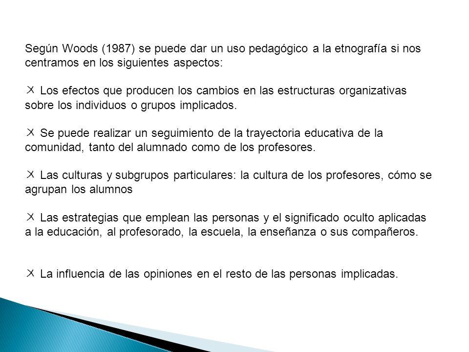 Según Woods (1987) se puede dar un uso pedagógico a la etnografía si nos centramos en los siguientes aspectos: