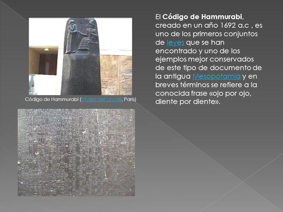 El Código de Hammurabi, creado en un año 1692 a