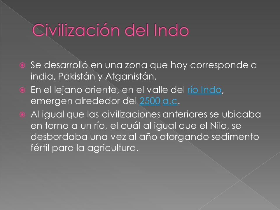 Civilización del Indo Se desarrolló en una zona que hoy corresponde a india, Pakistán y Afganistán.