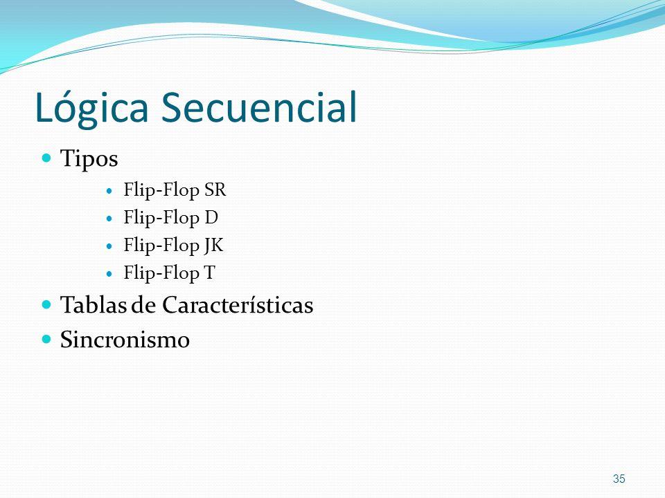 Lógica Secuencial Tipos Tablas de Características Sincronismo