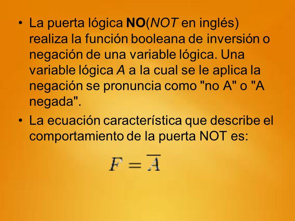 La puerta lógica NO(NOT en inglés) realiza la función booleana de inversión o negación de una variable lógica. Una variable lógica A a la cual se le aplica la negación se pronuncia como no A o A negada .