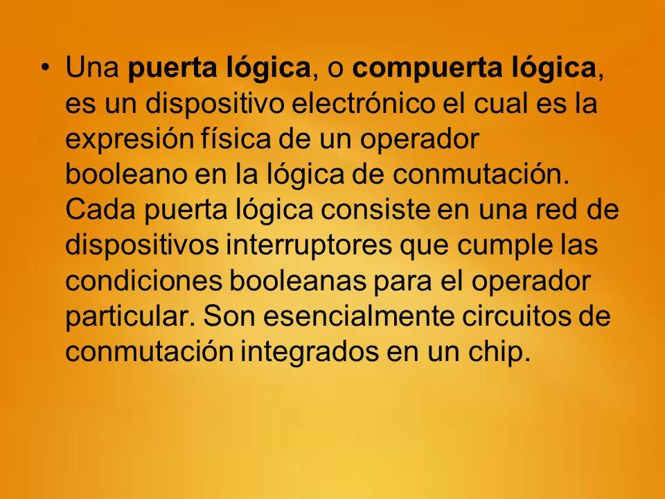 Una puerta lógica, o compuerta lógica, es un dispositivo electrónico el cual es la expresión física de un operador booleano en la lógica de conmutación.