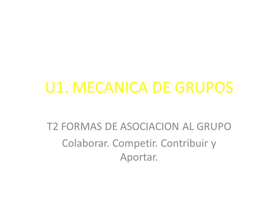 U1. MECANICA DE GRUPOS T2 FORMAS DE ASOCIACION AL GRUPO