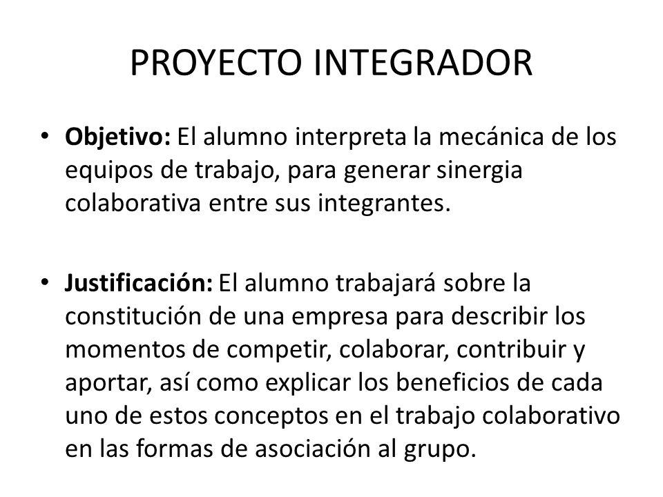 PROYECTO INTEGRADORObjetivo: El alumno interpreta la mecánica de los equipos de trabajo, para generar sinergia colaborativa entre sus integrantes.