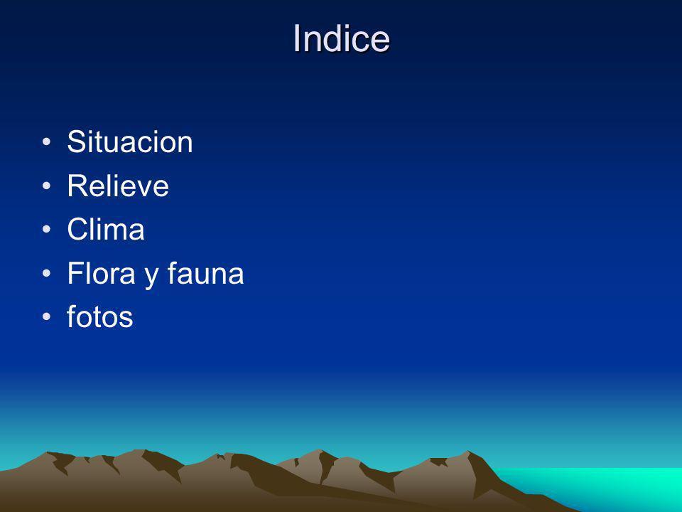 Indice Situacion Relieve Clima Flora y fauna fotos