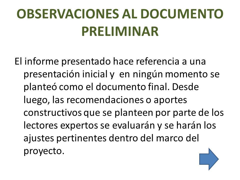 OBSERVACIONES AL DOCUMENTO PRELIMINAR