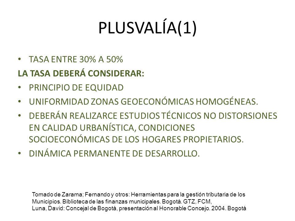 PLUSVALÍA(1) TASA ENTRE 30% A 50% LA TASA DEBERÁ CONSIDERAR: