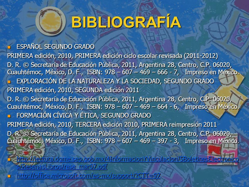 BIBLIOGRAFÍA ESPAÑOL SEGUNDO GRADO