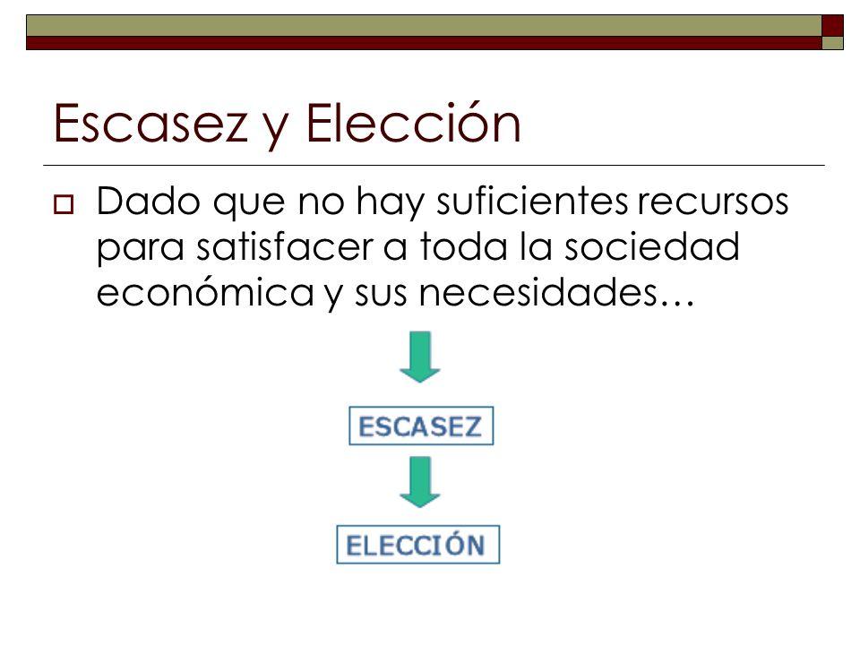 Escasez y ElecciónDado que no hay suficientes recursos para satisfacer a toda la sociedad económica y sus necesidades…