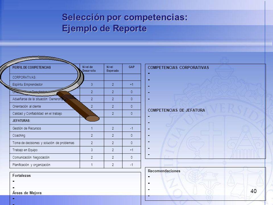 Selección por competencias: Ejemplo de Reporte