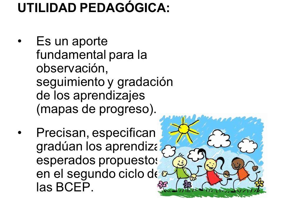 UTILIDAD PEDAGÓGICA:Es un aporte fundamental para la observación, seguimiento y gradación de los aprendizajes (mapas de progreso).