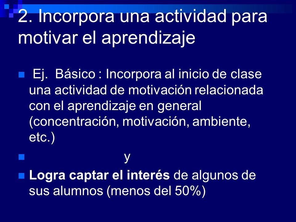 2. Incorpora una actividad para motivar el aprendizaje