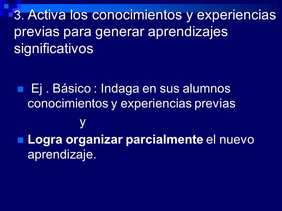 3. Activa los conocimientos y experiencias previas para generar aprendizajes significativos