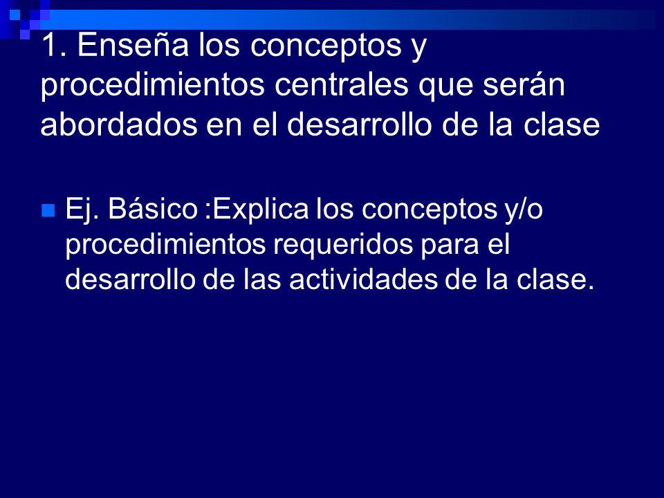 1. Enseña los conceptos y procedimientos centrales que serán abordados en el desarrollo de la clase