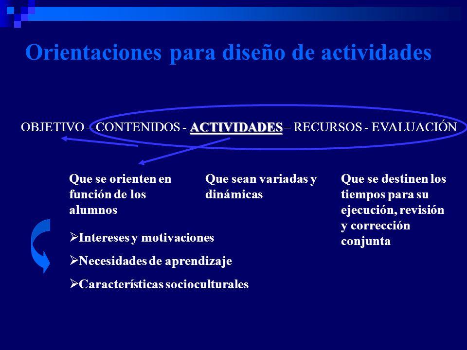 Orientaciones para diseño de actividades