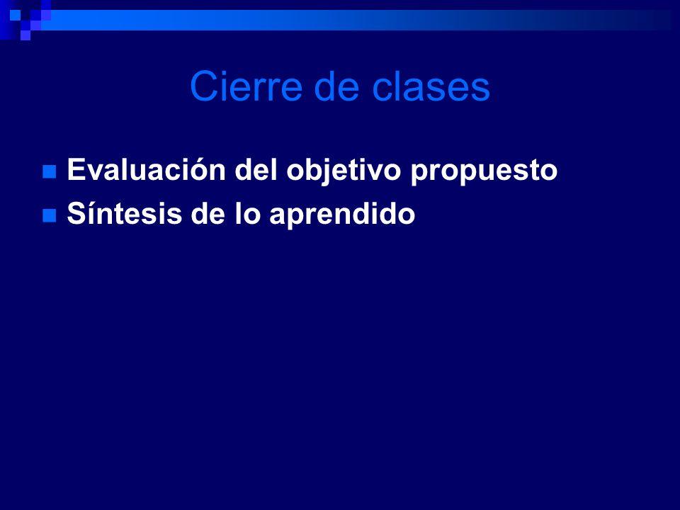 Cierre de clases Evaluación del objetivo propuesto