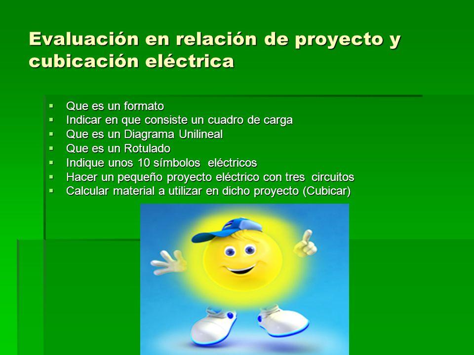 Evaluación en relación de proyecto y cubicación eléctrica