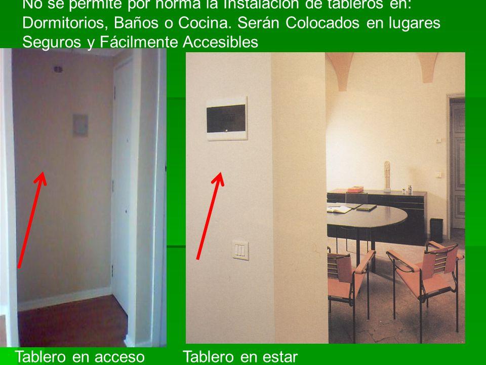 No se permite por norma la Instalación de tableros en: Dormitorios, Baños o Cocina. Serán Colocados en lugares Seguros y Fácilmente Accesibles