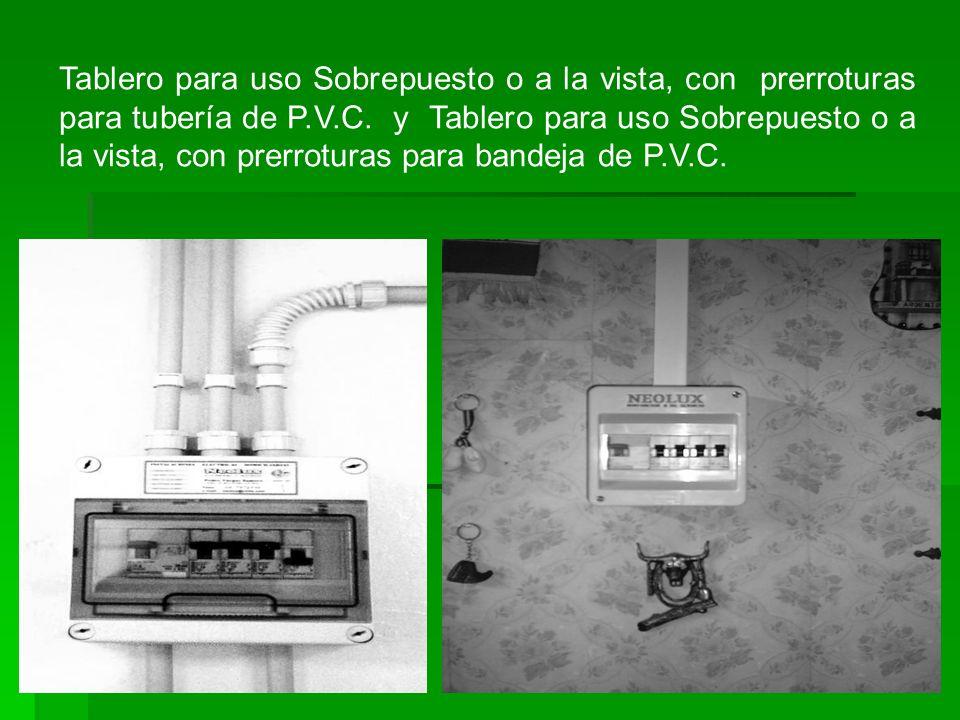 Tablero para uso Sobrepuesto o a la vista, con prerroturas para tubería de P.V.C.