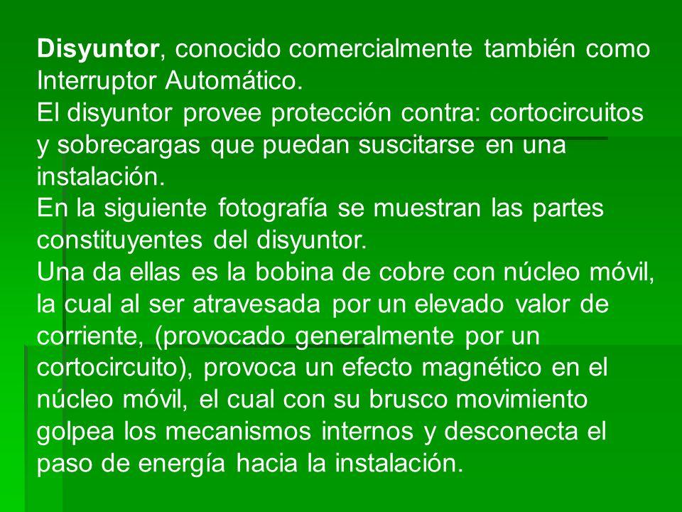 Disyuntor, conocido comercialmente también como Interruptor Automático.