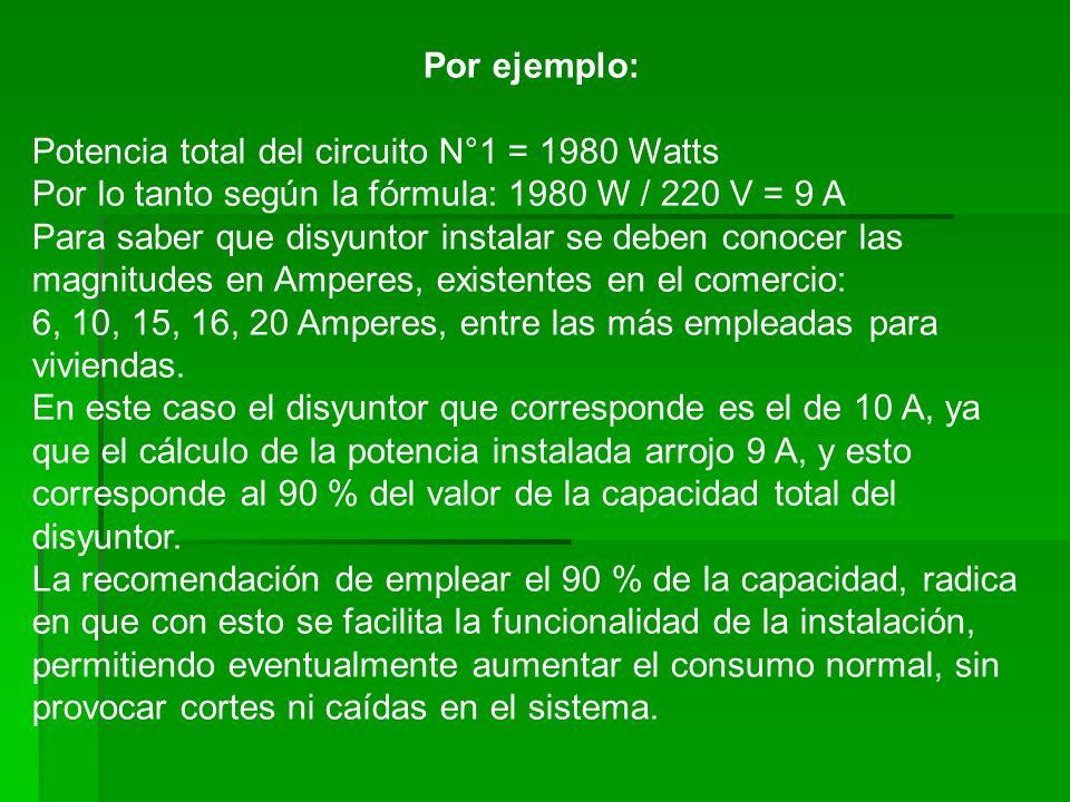 Por ejemplo: Potencia total del circuito N°1 = 1980 Watts. Por lo tanto según la fórmula: 1980 W / 220 V = 9 A.