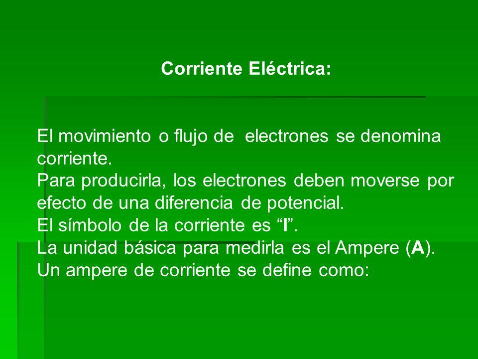Corriente Eléctrica:El movimiento o flujo de electrones se denomina corriente.