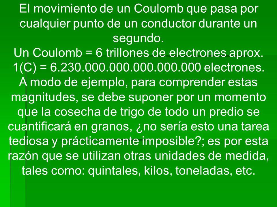 Un Coulomb = 6 trillones de electrones aprox.