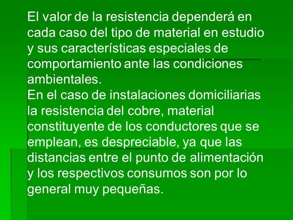 El valor de la resistencia dependerá en cada caso del tipo de material en estudio y sus características especiales de comportamiento ante las condiciones ambientales.