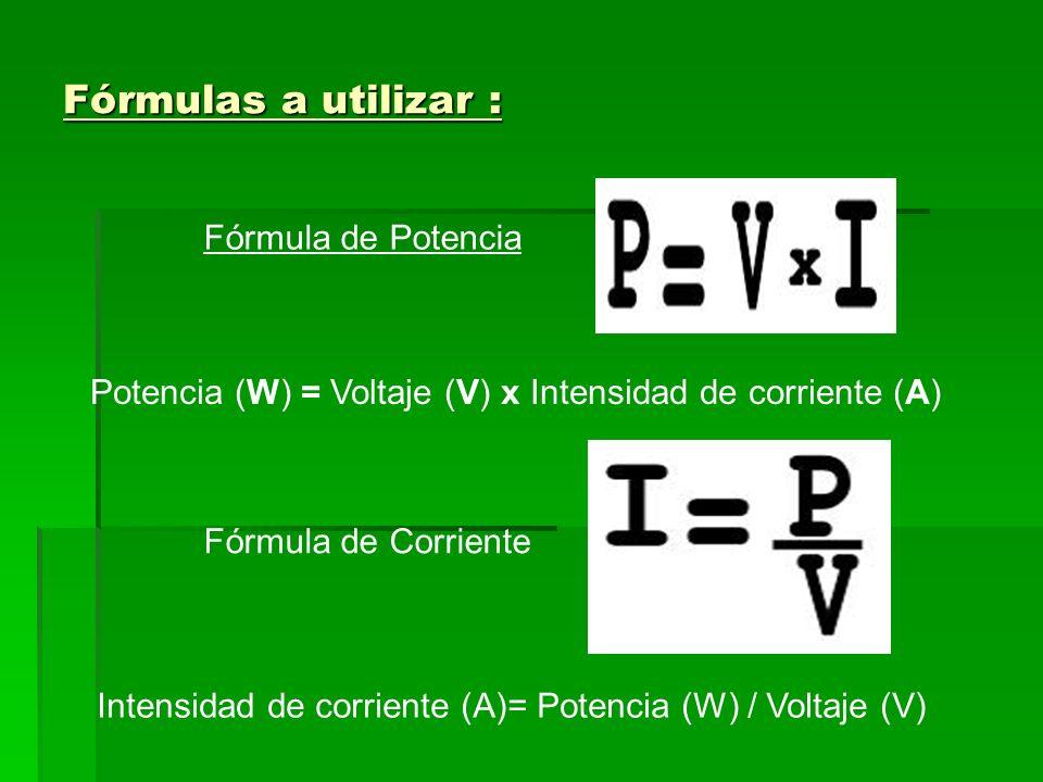 Fórmulas a utilizar : Fórmula de Potencia