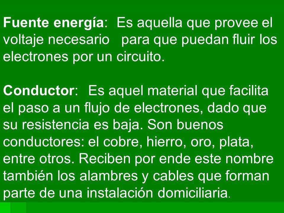 Fuente energía: Es aquella que provee el voltaje necesario para que puedan fluir los electrones por un circuito.
