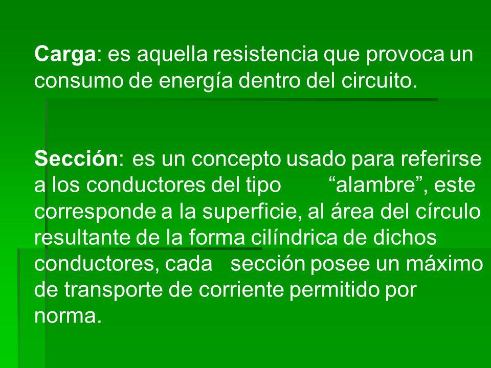 Carga: es aquella resistencia que provoca un consumo de energía dentro del circuito.
