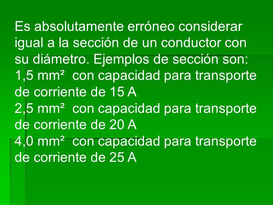 Es absolutamente erróneo considerar igual a la sección de un conductor con su diámetro. Ejemplos de sección son: