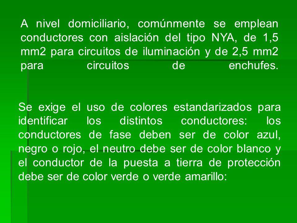A nivel domiciliario, comúnmente se emplean conductores con aislación del tipo NYA, de 1,5 mm2 para circuitos de iluminación y de 2,5 mm2 para circuitos de enchufes.